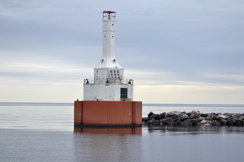 The channel lighthouse, entering Lake Michigan.