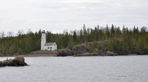 The lighthouse marking the channel toward Rock Harbor.