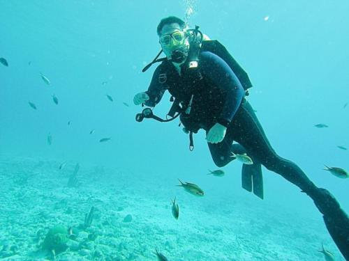 Me, swimmin' with the fishies.