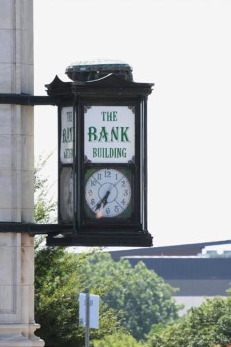 The clock at the Bank Building.
